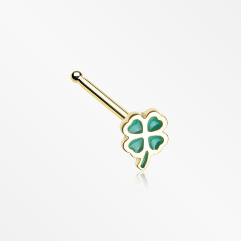 Golden Lucky Four Leaf Clover Nose Stud Ring-Green