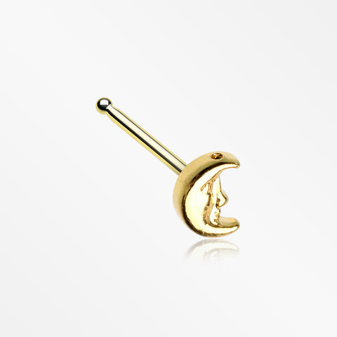Golden Mystic Crescent Moon Face Nose Stud Ring