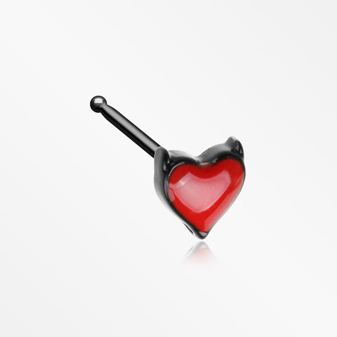 Blackline Devil's Heart Nose Stud Ring-Black/Red