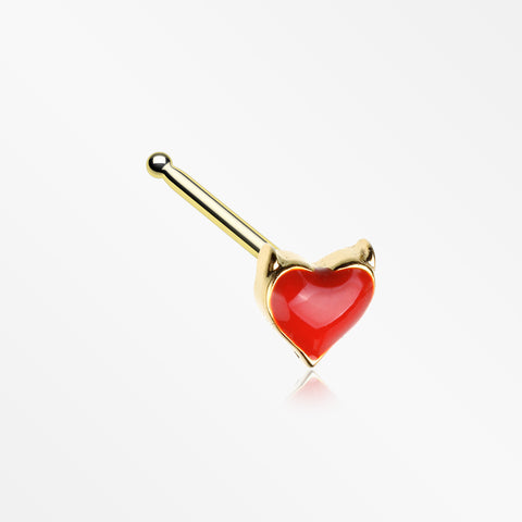 Golden Devil's Heart Nose Stud Ring-Red