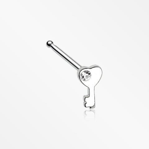 Key to My Heart Sparkle Nose Stud Ring-Clear