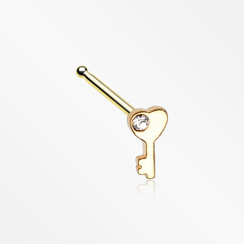 Golden Key to My Heart Sparkle Nose Stud Ring-Clear