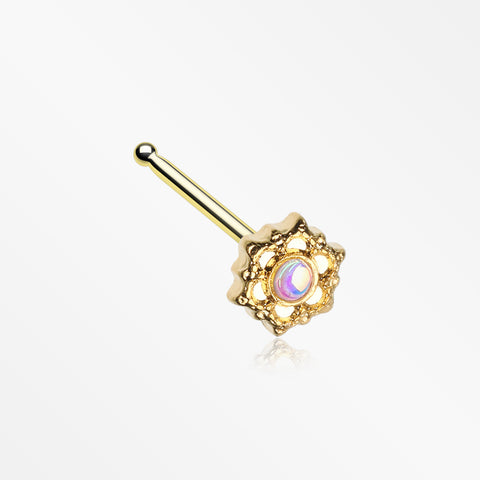 Golden Iridescent Revo Mandala Lotus Nose Stud Ring