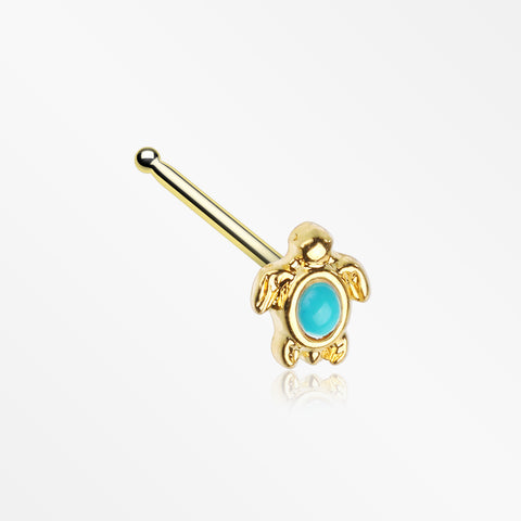 Golden Turquoise Turtle Nose Stud Ring-Turquoise