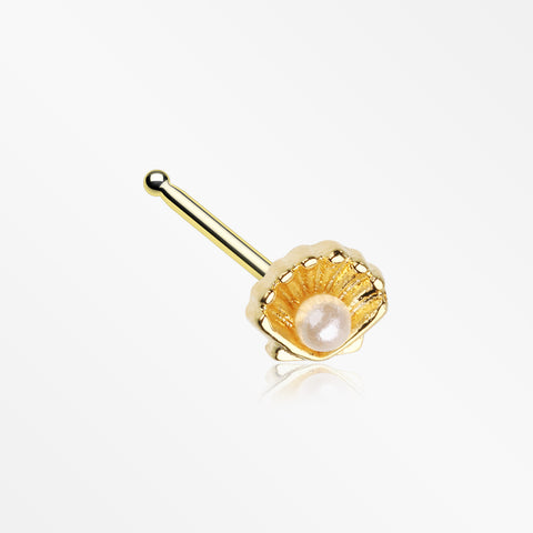 Golden Ariel's Shell Pearlescent Nose Stud Ring-White