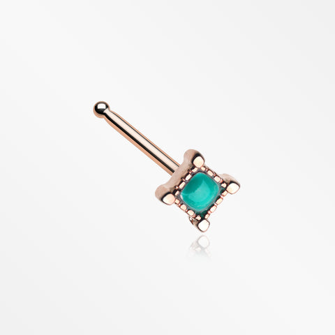 Rose Gold Vintage Turquoise Square Nose Stud Ring