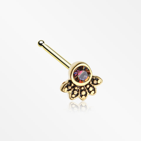 Golden Antique Bali Floral Sparkle Nose Stud Ring-Vitrail Medium