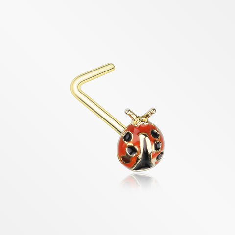 Golden Adorable Dainty Ladybug L-Shaped Nose Ring-Red