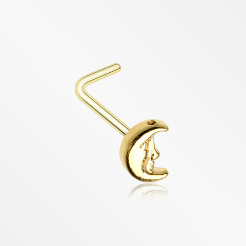 Golden Mystic Crescent Moon Face L-Shaped Nose Ring