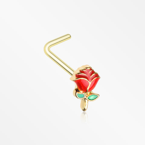 Golden Vintage Enchanted Stem of Rose L-Shaped Nose Ring-Red/Green