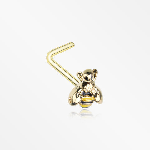 Golden Sweet Bumble Bee L-Shaped Nose Ring