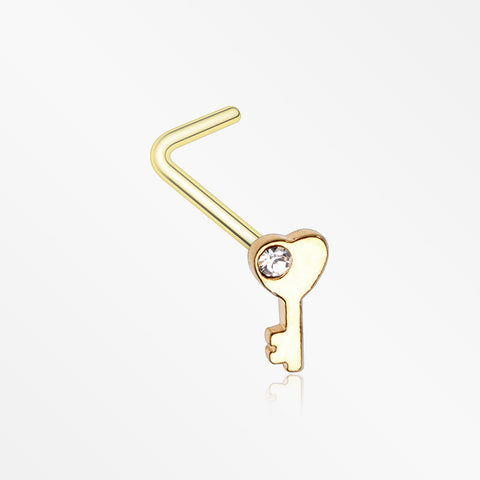 Golden Key to My Heart Sparkle L-Shaped Nose Ring-Clear