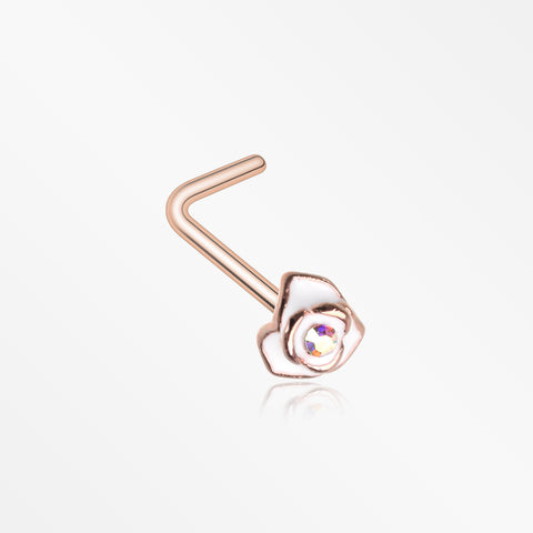 Rose Gold White Rose Blossom Sparkle L-Shaped Nose Ring-Aurora Borealis
