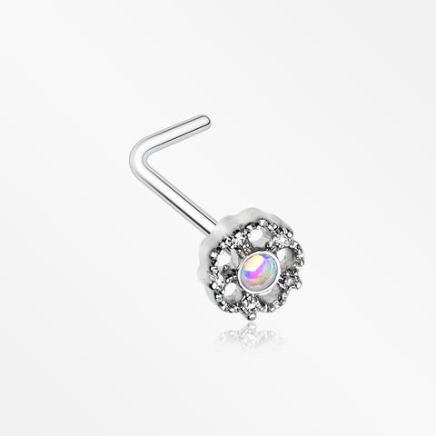 Zen Flower Iridescent Revo Sparkle L-Shaped Nose Ring