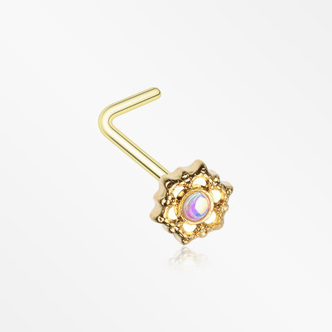 Golden Iridescent Revo Mandala Lotus L-Shaped Nose Ring
