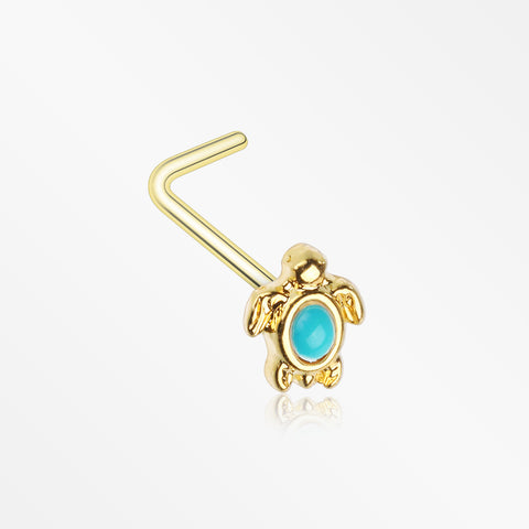 Golden Turquoise Turtle L-Shape Nose Ring-Turquoise