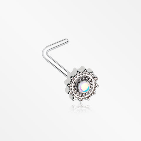Iridescent Revo Floral Mandala L-Shaped Nose Ring