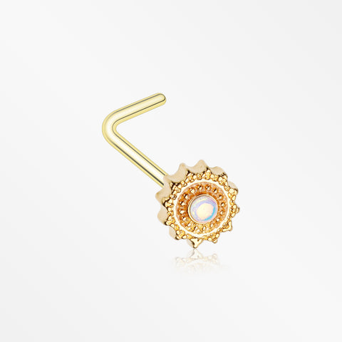 Golden Iridescent Revo Floral Mandala L-Shaped Nose Ring