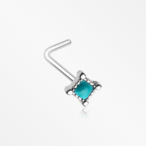 Vintage Turquoise Square L-Shaped Nose Ring