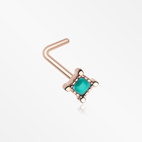 Rose Gold Vintage Turquoise Square L-Shaped Nose Ring