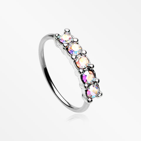 Aurora Multi-Gem Princess Prong Sparkles Bendable Hoop Ring-Aurora Borealis