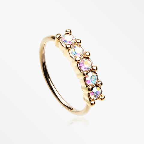 Golden Aurora Multi-Gem Princess Prong Sparkles Bendable Hoop Ring-Aurora Borealis