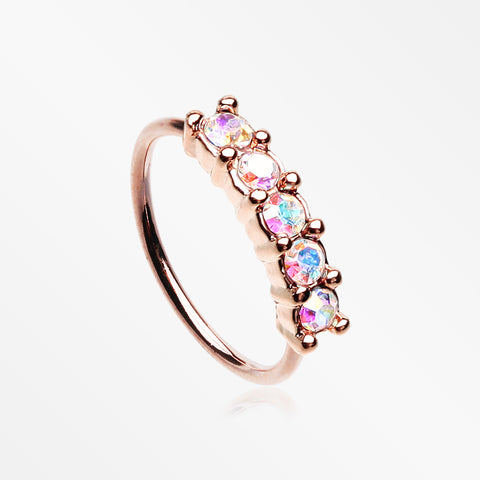 Rose Gold Aurora Multi-Gem Princess Prong Sparkles Bendable Hoop Ring-Aurora Borealis
