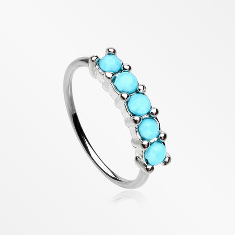 Turquoise Multi Beads Princess Prong Bendable Hoop Ring-Turquoise