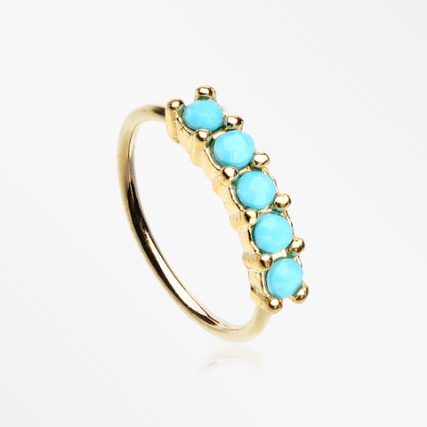 Golden Turquoise Multi Beads Princess Prong Bendable Hoop Ring-Turquoise