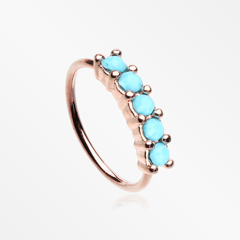 Rose Gold Turquoise Multi Beads Princess Prong Bendable Hoop Ring-Turquoise