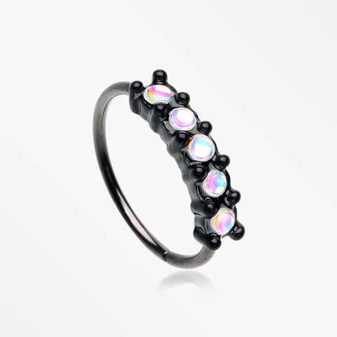 Blackline Iridescent Revo Multi Sparkles Princess Prong Bendable Hoop Ring-Black