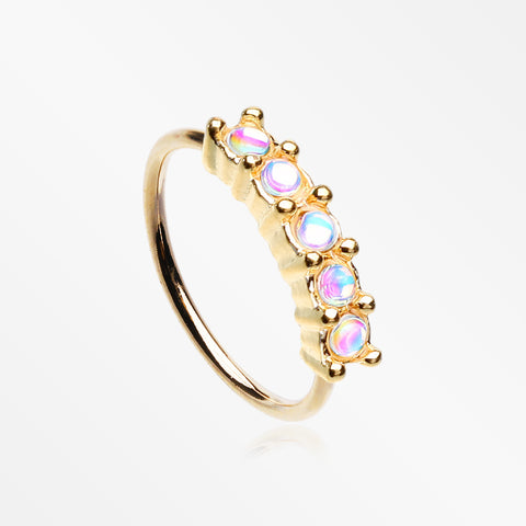 Golden Iridescent Revo Multi Sparkles Princess Prong Bendable Hoop Ring
