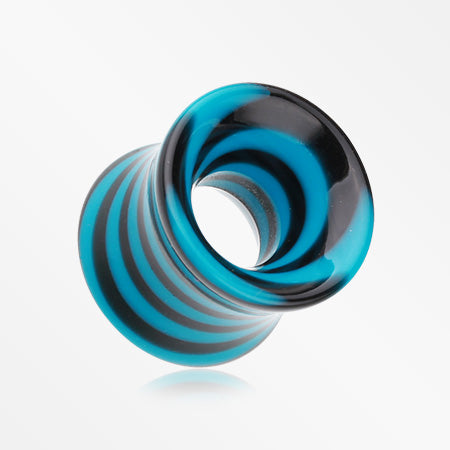 A Pair of Beetle Maze Swirl Acrylic Ear Gauge Tunnel Plug-Blue