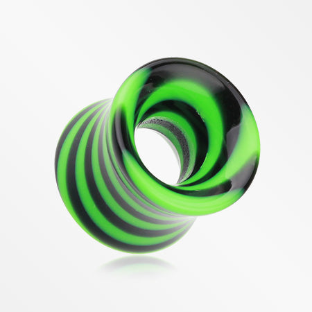 A Pair of Beetle Maze Swirl Acrylic Ear Gauge Tunnel Plug-Green