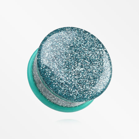 A Pair of Glitter Shimmer Single Flared Ear Gauge Plug-Aqua