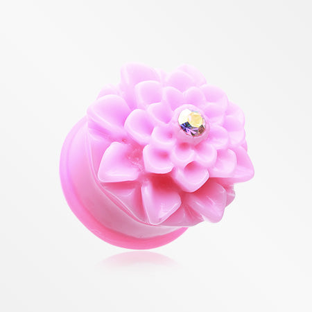 A Pair of Charming Chrysanthemum Single Flared Ear Gauge Plug-Pink