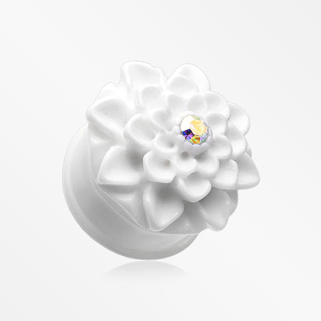 A Pair of Charming Chrysanthemum Single Flared Ear Gauge Plug-White