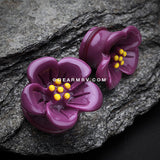 A Pair of Adorable Hibiscus Flower Single Flared Ear Gauge Plug-Purple