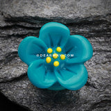 A Pair of Adorable Hibiscus Flower Single Flared Ear Gauge Plug-Teal