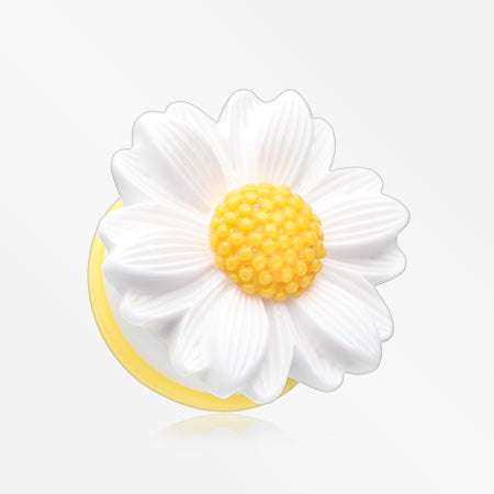 A Pair of Cutesy Daisy Flower Ear Gauge Plug-White/Yellow