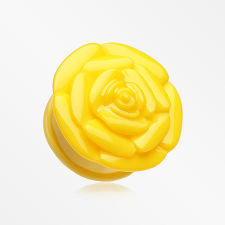 A Pair of Rose Blossom Flower Single Flared Plug-Yellow