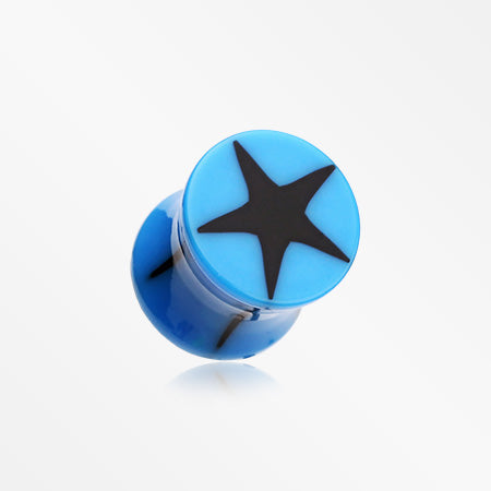 A Pair of Star Top Saddle Plug-Blue/Black