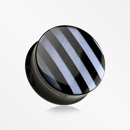 A Pair of Marble Stripe Double Flared Ear Gauge Plug-Black