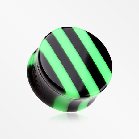 A Pair of Brilliant Stripes Double Flared Ear Gauge Plug-Green