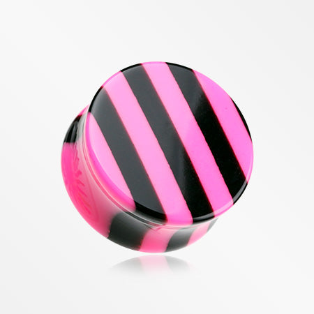 A Pair of Brilliant Stripes Double Flared Ear Gauge Plug-Pink