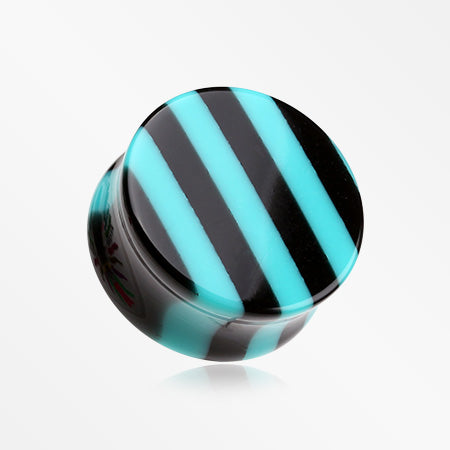 A Pair of Brilliant Stripes Double Flared Ear Gauge Plug-Teal
