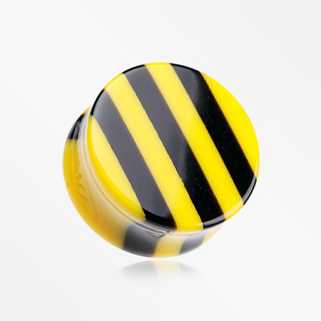 A Pair of Brilliant Stripes Double Flared Ear Gauge Plug-Yellow