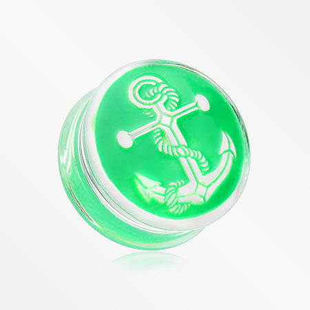 A Pair of Anchor Enamel Embossed Double Flared Ear Gauge Plug-Green