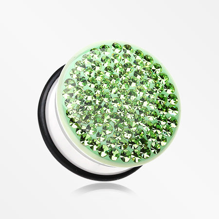 A Pair of Brilliant Sparkle Gems Single Flared White Ear Gauge Plug-Green