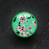 A Pair of Hibiscus Flower Single Flared Ear Gauge Plug-Green
